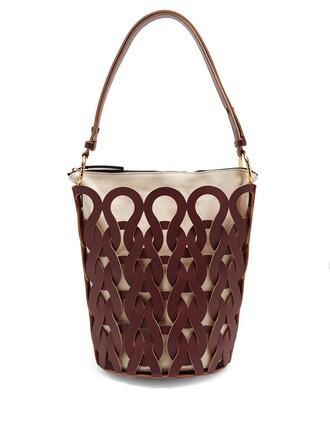 bag bucket bag leather burgundy