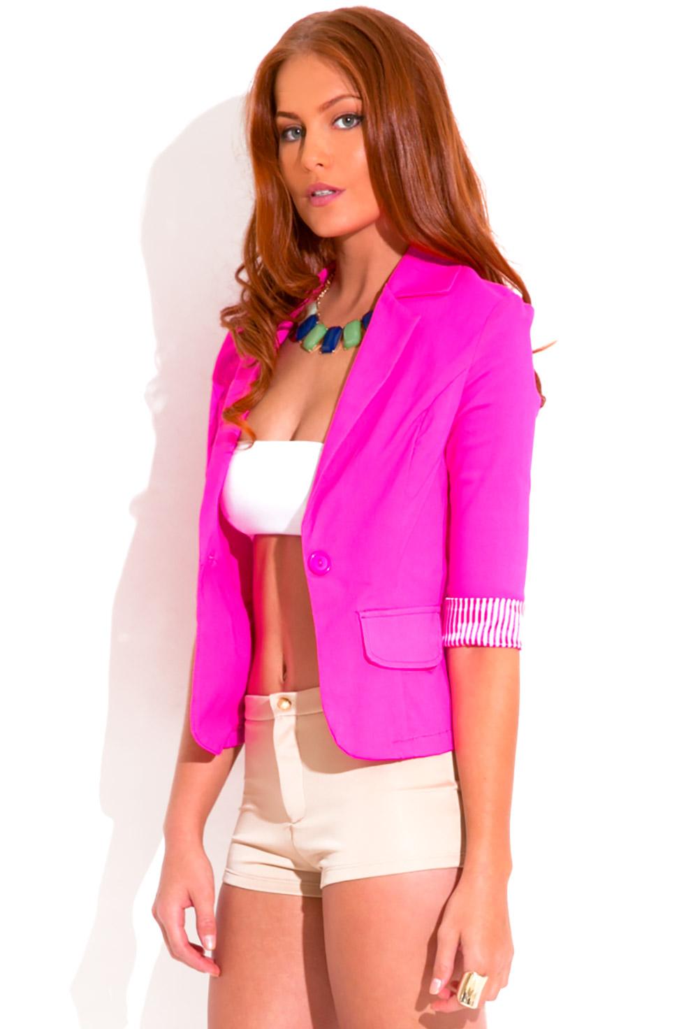 Hot pink pinstripe cuff quarter sleeve one button blazer jacket