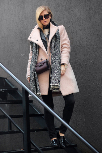 sirma markova blogger coat jacket sweater scarf jeans jewels dress bag sunglasses shoes