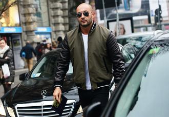 jacket army green zip leather jacket black sleeves bomber jacket mens jacket leather sleeves