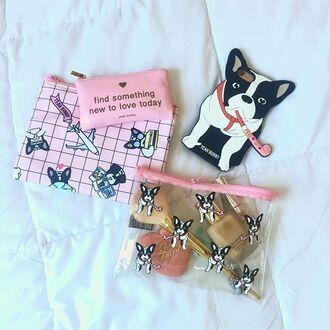 make-up yeah bunny makeubag pink pastel grid frenchie dog
