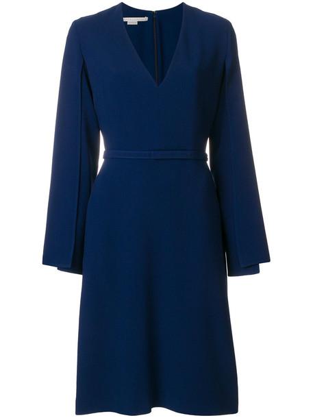 Stella McCartney dress women slit spandex blue silk