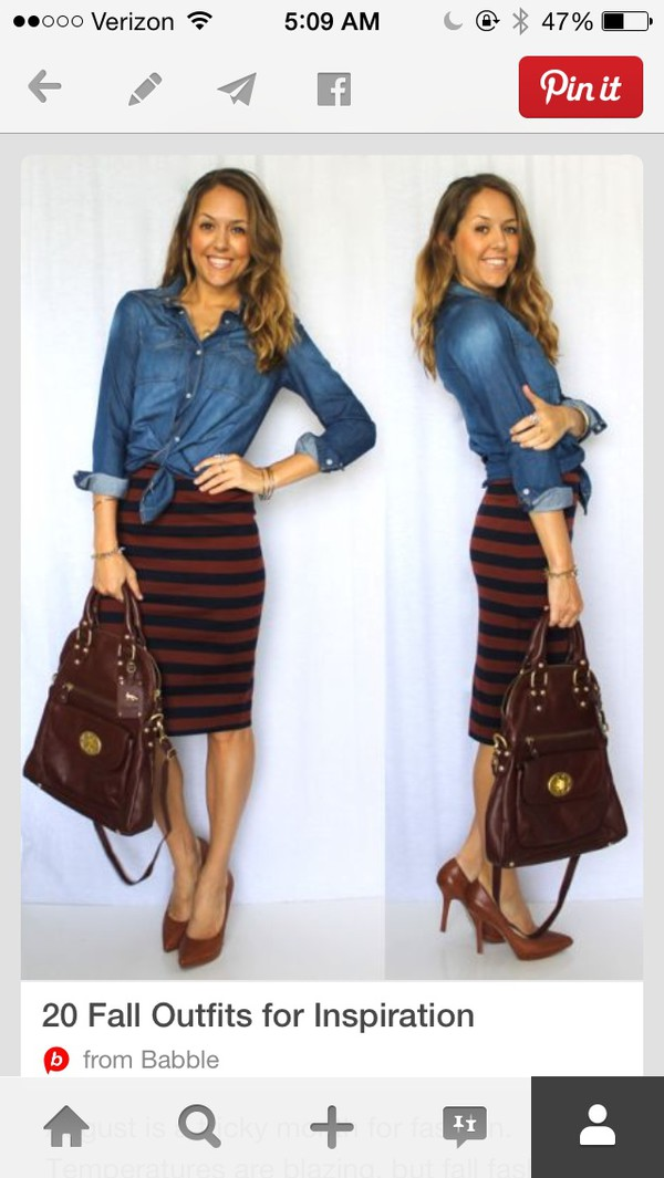 skirt stripes fall outfits chambray top