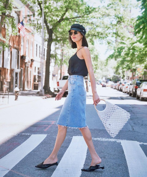 top black top skirt denim denim skirt bag shoes sunglasses hat