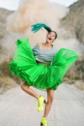 skirt,green,medium length,cute,original,chiffon