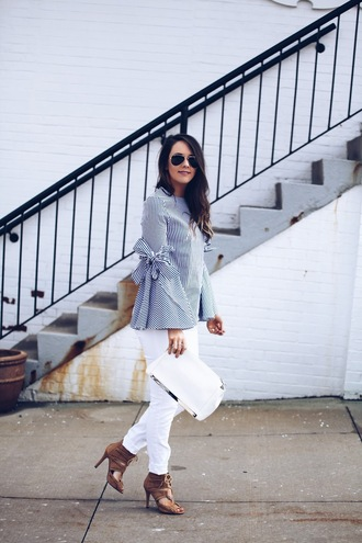 fashionably kay blogger top jeans shoes bag jewels clutch blouse sandals white jeans spring outfits