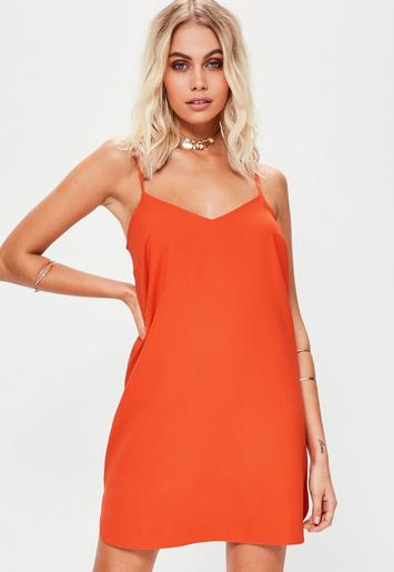 Missguided - Orange Cami Crepe Shift Dress