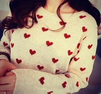 sweater white sweater with red hearts white sweater heart heart sweater