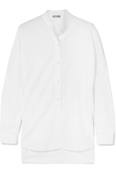 Vince shirt oversized white cotton silk top