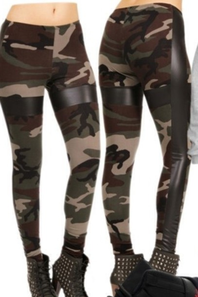 pants camouflage camouflage leather leggings camouflage
