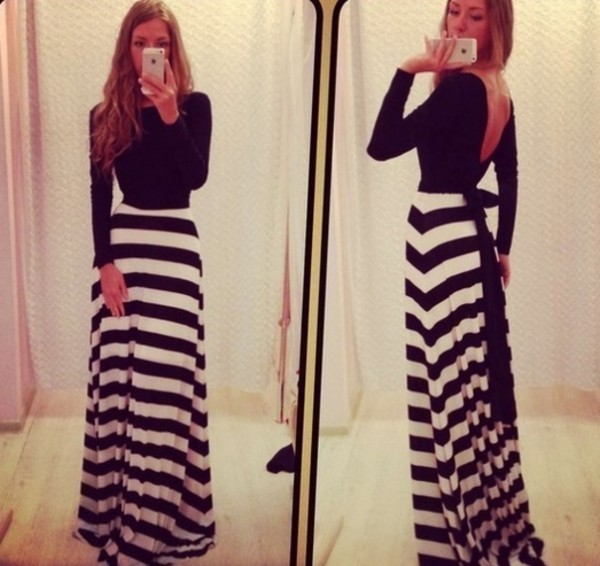 dress maxi dress black and white dress open back open backed dress bow long sleeves long sleeve dress sexy dress long sleeves black and white long dress maxi black stripes dress