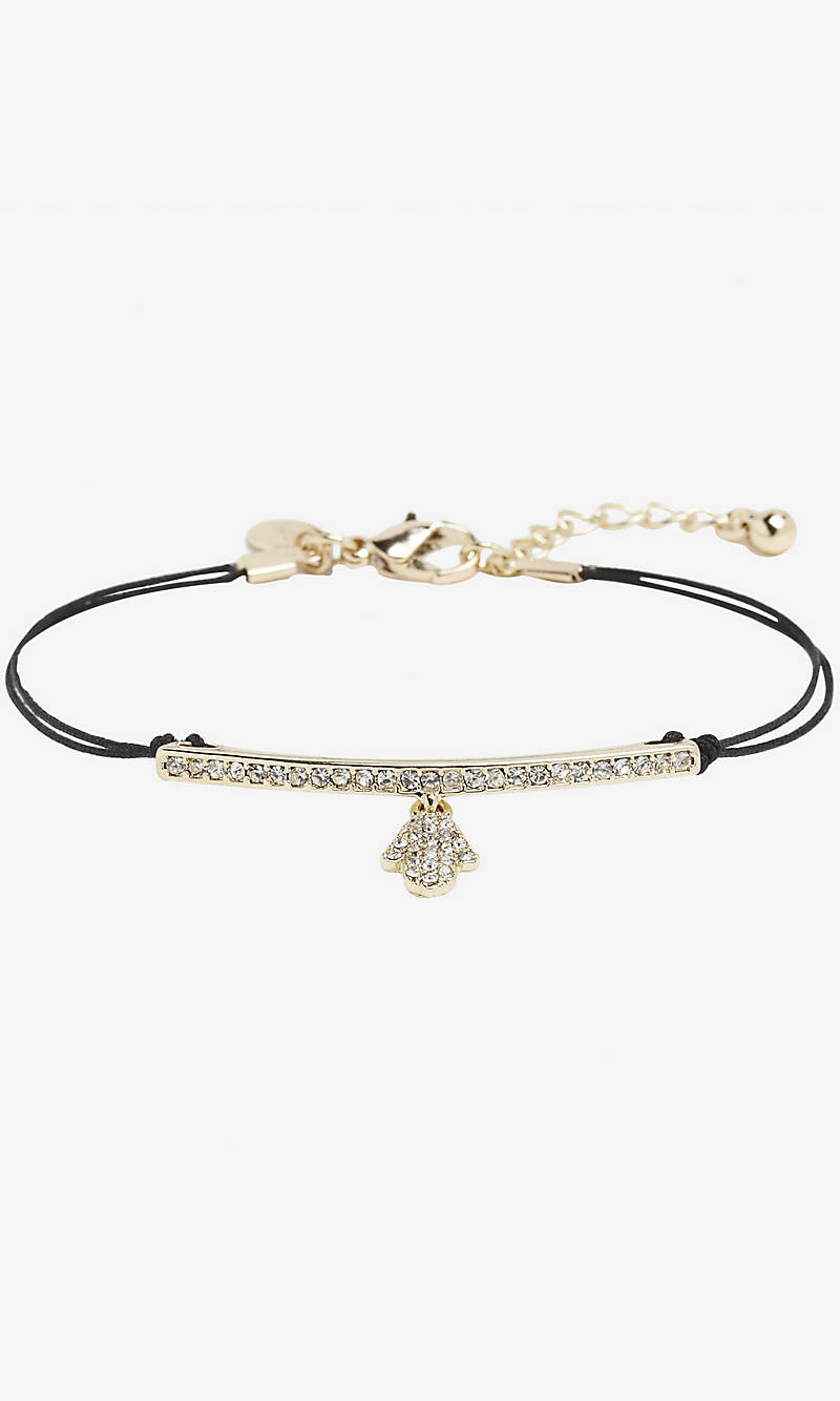 PAVE BAR AND HAMSA CORD BRACELET from EXPRESS