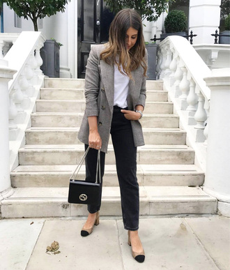 jacket top tumblr blazer grey blazer white top denim jeans black jeans shoes bag black bag chain bag