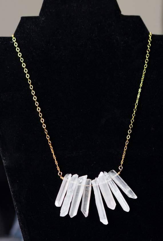 Lights from my Throne Quartz Bib Necklace by JunonJewelry on Etsy