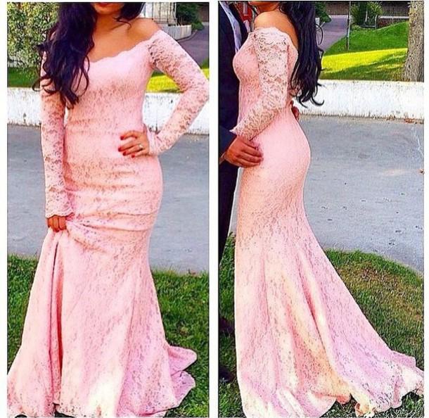 dress, pink, lace dress, long sleeve dress, prom dress, evening ...