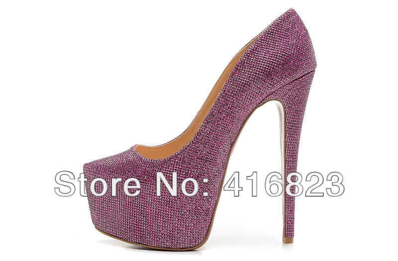 Daffodile 160MM silver purple sequin high heels lady red bottom soles platform glitter pumps for womens prom wedding dress shoes-in Pumps from Shoes on Aliexpress.com
