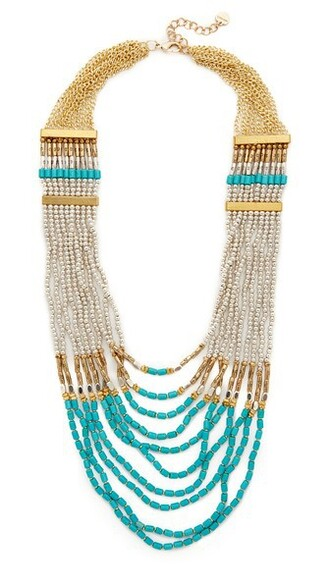 necklace gold silver turquoise jewels