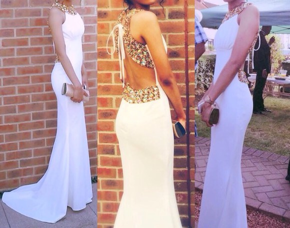 prom dress gold sequins jewels white prom dress backless dress