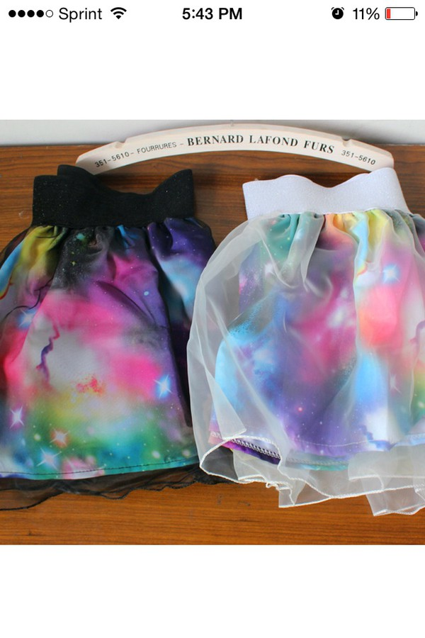 skirt galaxy print tulle skirt colorful mini skirt
