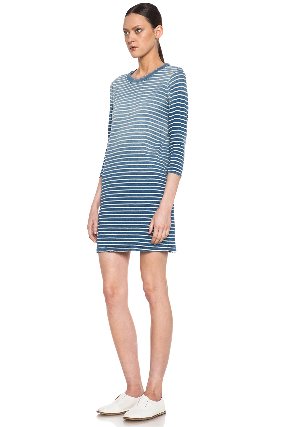 Current/Elliott|Cotton Tee Dress in Indigo Stripe