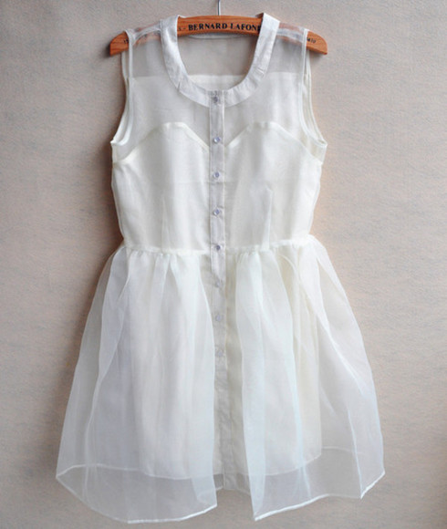 dress white white dress transparent transparent dress chiffon