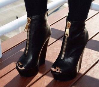 shoes heels black heels zipper heels wedge leather heels opentoe heels