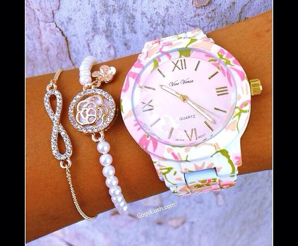 jewels jewel-toned watch pink flowered shorts bracelets