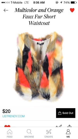 jacket multicolor vest vest fur vest