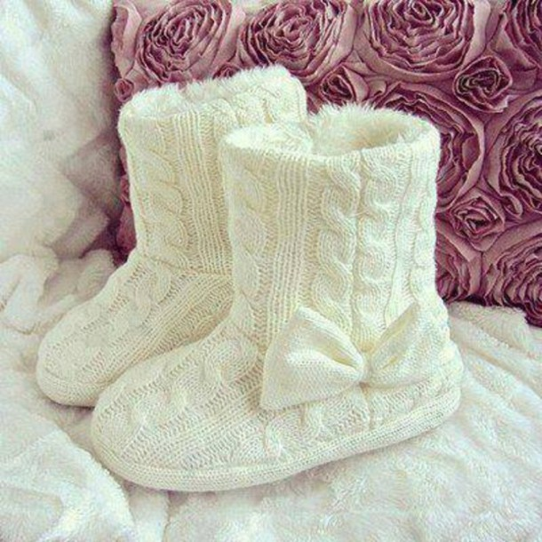 Shoes Withe Bow Node Crewel Ugg Boots Wool Knitting Slippers