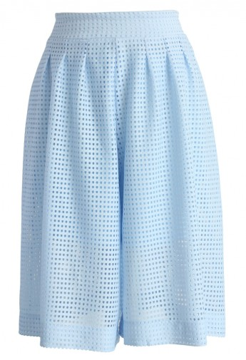 Baby Blue Culotte with Cutout Detail - Retro, Indie and Unique Fashion