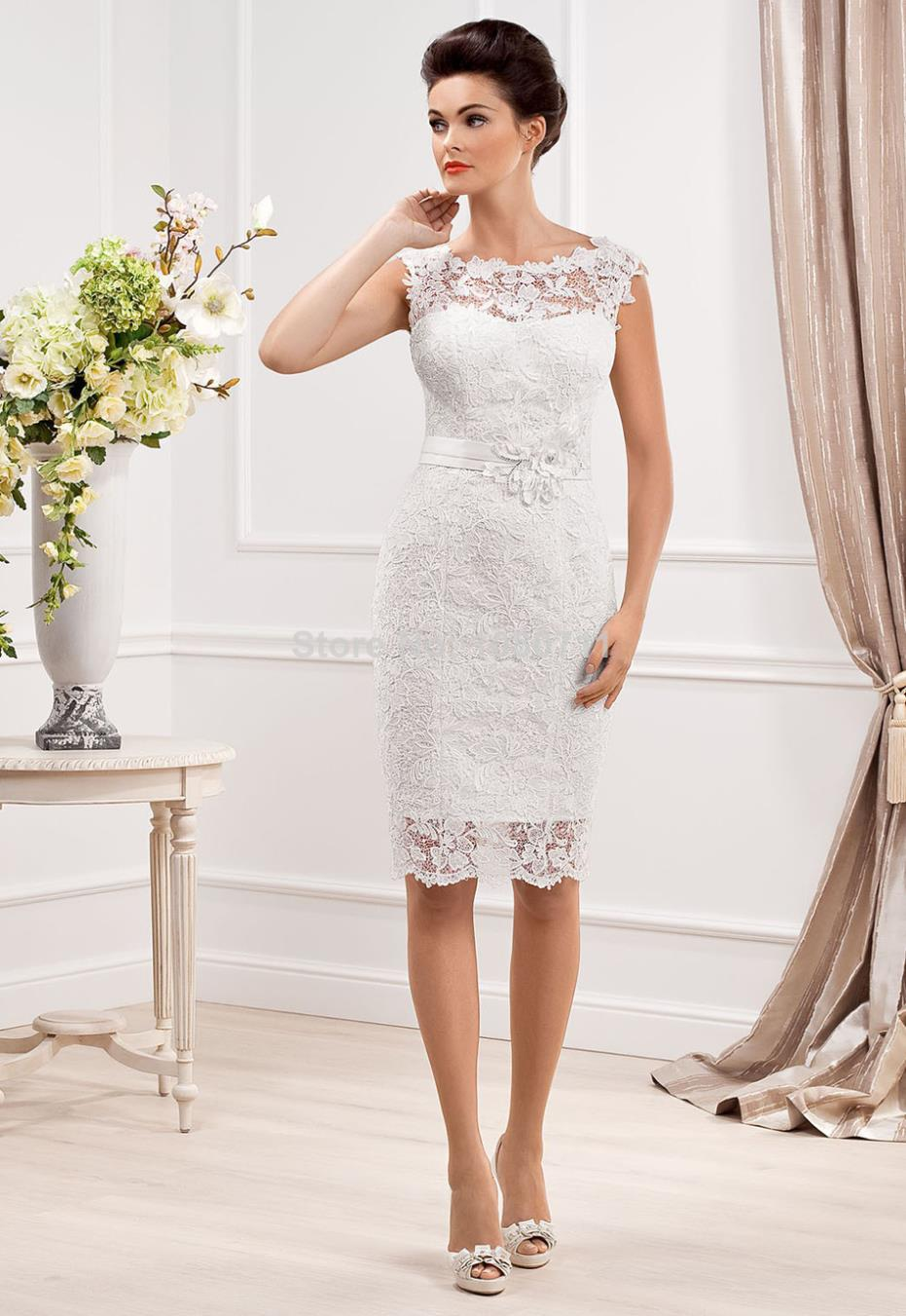 Short wedding dress lace fabric with sashes cap sleeves for Short sheath wedding dress