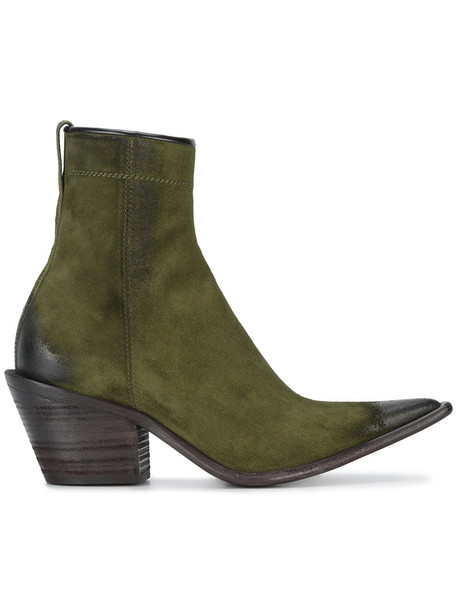 women pointed toe boots leather suede green shoes
