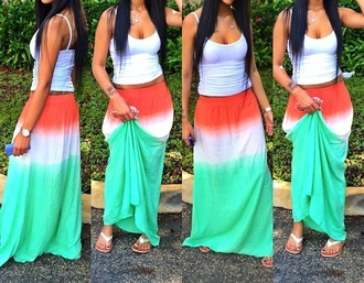 skirt orange red white dress green dress red dress orange dress summer dress summer outfits style maxi skirt maxi dress tie dye tie dye maxi skirt