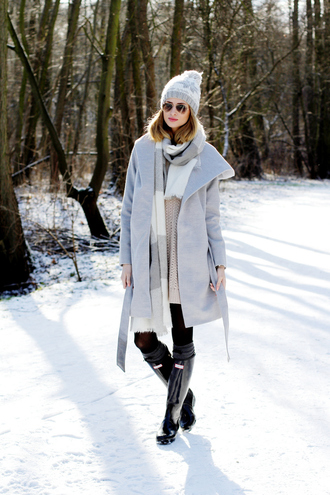 beauty fashion shopping blogger scarf winter outfits pom pom beanie grey coat wellies grey beanie