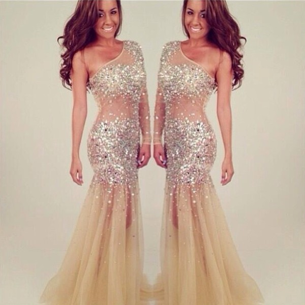 dress glittery gold gold elegant long rhinestones mermaid prom dress prom dress nude one shoulder diamonds see through classy prom same similar