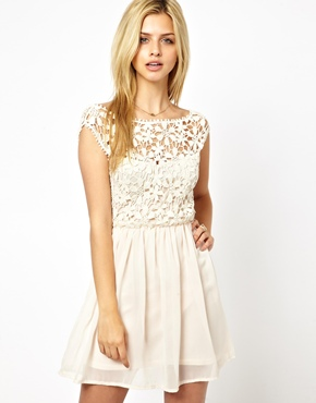 Club L | Club L Crochet Skater Dress at ASOS