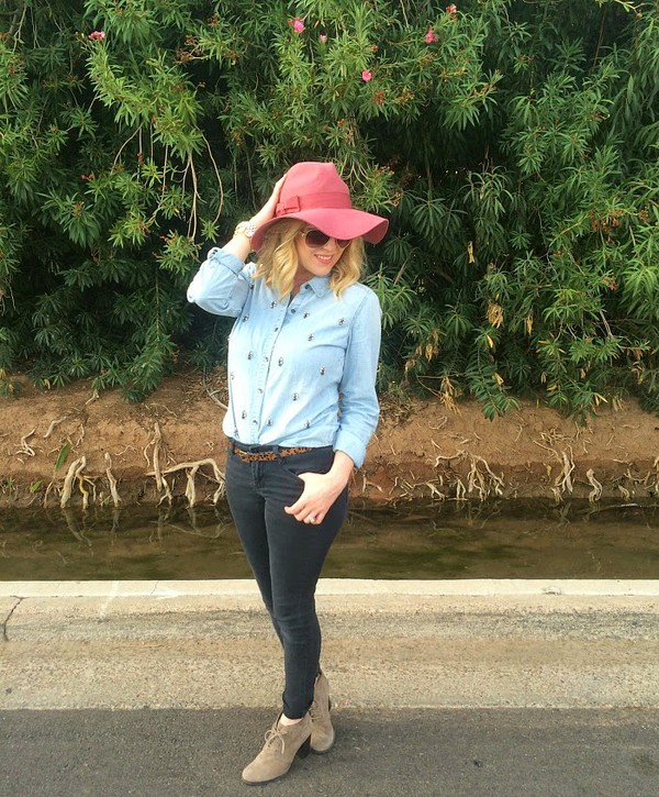 fashion flirtation shoes belt denim shirt floppy hat
