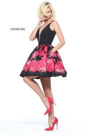 dress,deep v neck cocktail dress,floral homecoming dresses