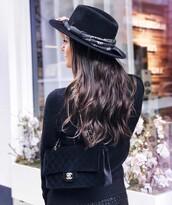 sweater,tumblr,black sweater,bag,black bag,velvet,velvet bag,chanel,chanel bag,chain bag,hat,felt hat,black hat,long hair,hair,brunette,all black everything