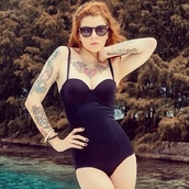 swimwear,black,Pin up,one piece swimsuit