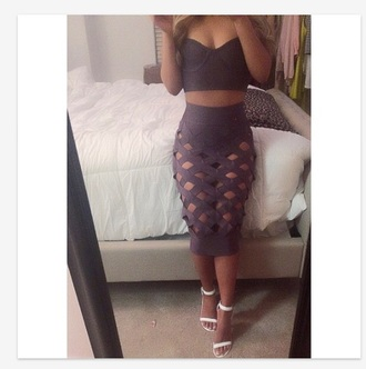 skirt bodycon skirt cropped bustier fish scales brown gray skirt black bustier shirt black high waisted pants croptop midiskirt pink black bustier grey skirt