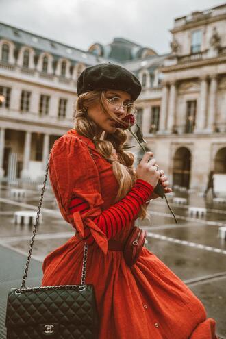 the fashion fraction blogger dress sweater bag belt shoes beret red dress belt bag chanel bag spring outfits