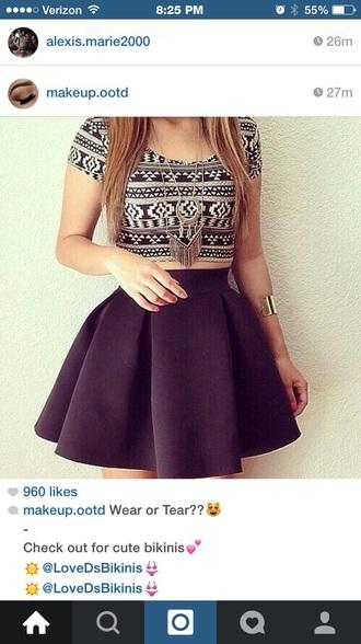 shirt navy white aztec skirt