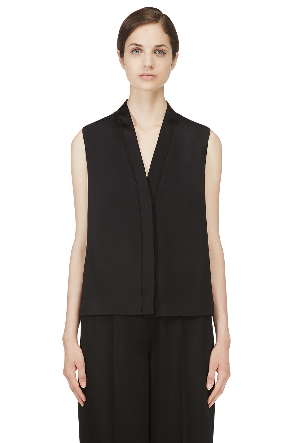 calvin klein collection black hammered satin wayne blouse