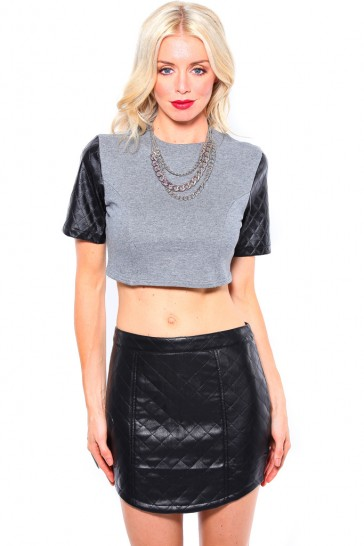 QUILT LEATHER CROP TOP - TOPS