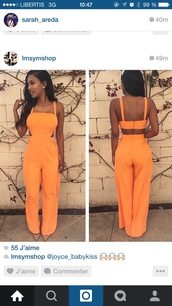 jumpsuit,orange,romper,pants