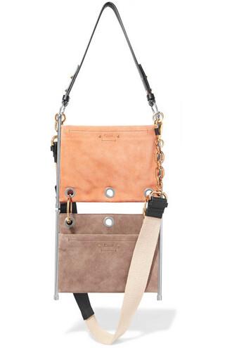 bag shoulder bag leather suede blush