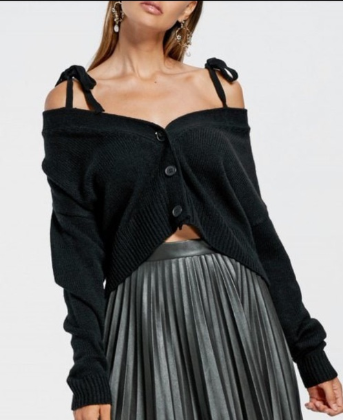 sweater girly black off the shoulder button up