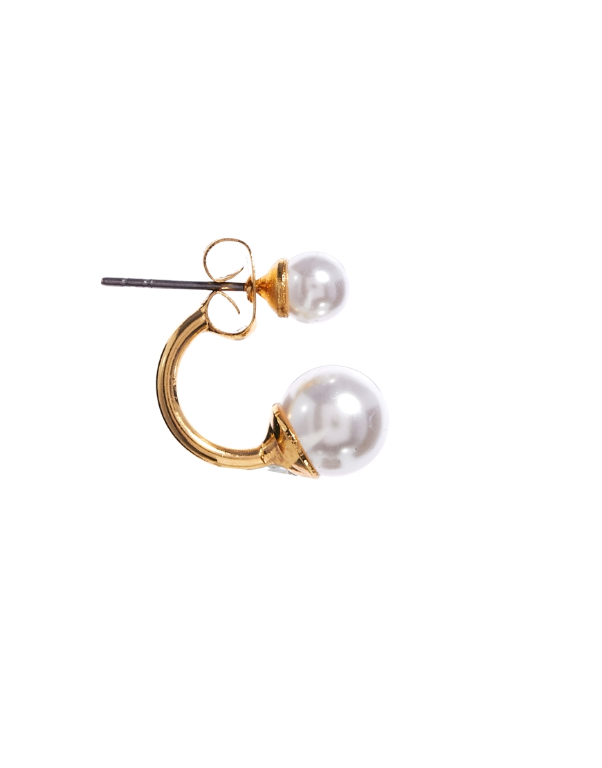 ASOS Faux Pearl Swing Earrings at asos.com
