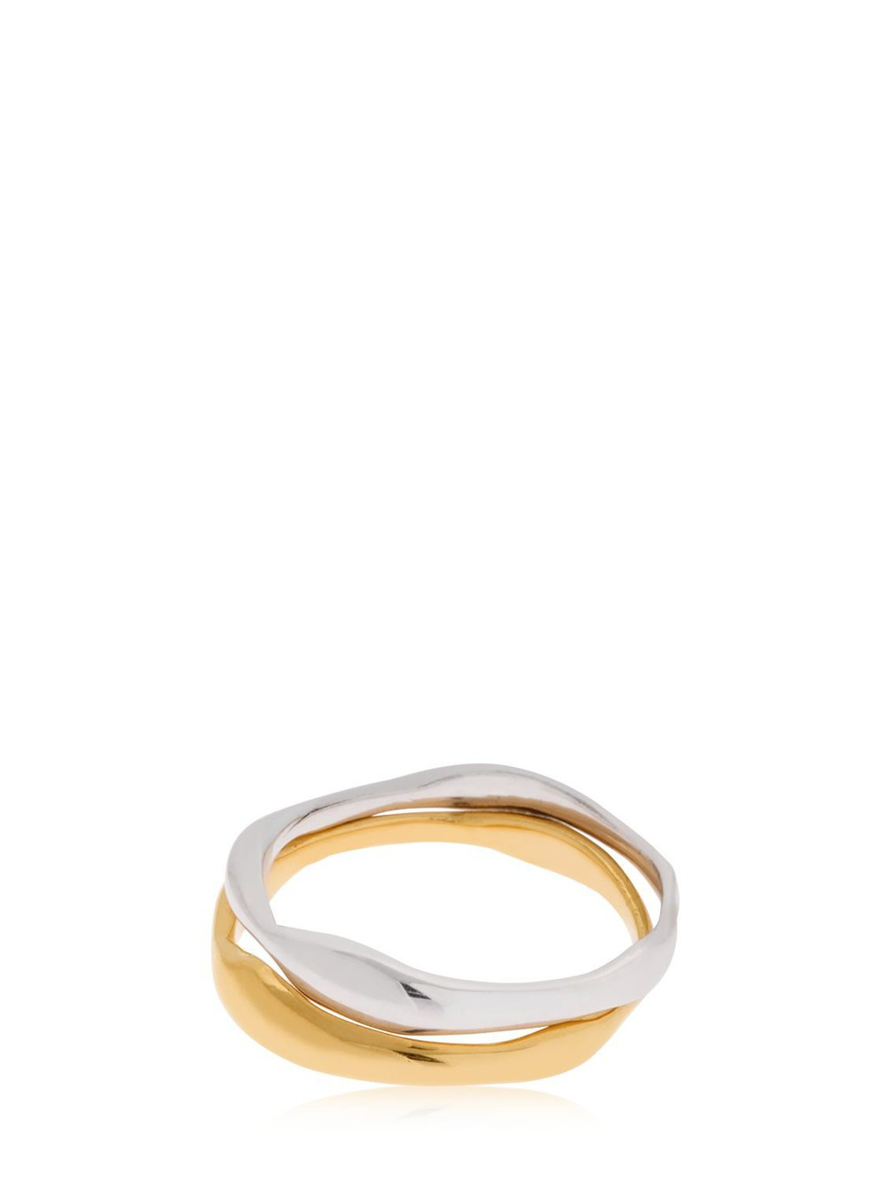 BAR JEWELLERY Ripple Set Of 2 Rings in gold / silver